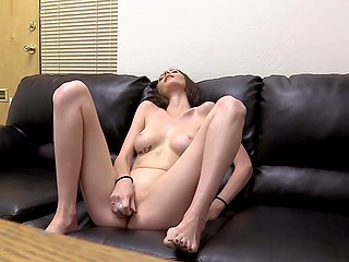 Babe has a slender body that she gives to horny pervert at the casting masturbating for him and sucking his cock