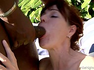 Men find out that mature ladies satisfy pussies on the plastic table and come to give cocks for sucking 7