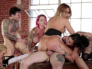 Classy teacher Jessica Drake and three chesty students drilled in all holes by two inked studs