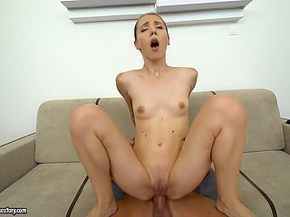 Male tears apart skinny lass with his cock sliding in and out of her wide sphincter