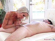 Stunning blonde cougar Emma Starr rides neighbor's hard cock while husband is on the work 11