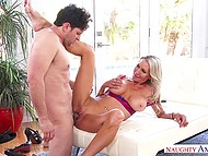 Stunning blonde cougar Emma Starr rides neighbor's hard cock while husband is on the work 5
