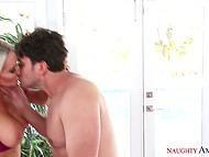 Stunning blonde cougar Emma Starr rides neighbor's hard cock while husband is on the work 6