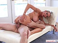 Stunning blonde cougar Emma Starr rides neighbor's hard cock while husband is on the work 7