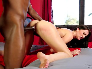 Married couple sits on the couch to watch black man stretches brunette's pussy with big cock
