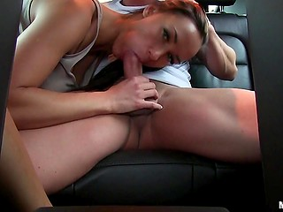 Erotically attractive babe has sex with rich admirer in the backseat of his luxurious car