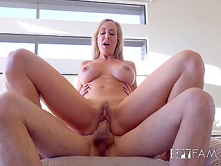 Young guy lies in bed while stunning stepmother with round boobs Brandi Love keeps riding his tool