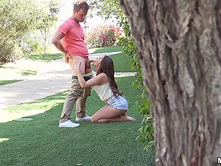 Curious guy peeps on best friend who coaxes girlfriend Cassidy Klein to polish his dick in the fresh air