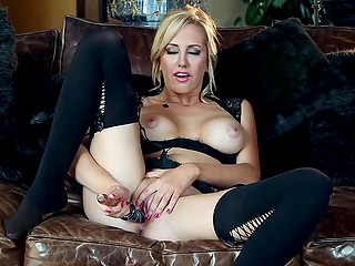 Smoking-hot blonde in sexy black lingerie passionately fingers own pussy till receiving orgasm