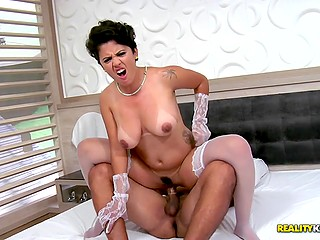 Latina MILF with big natural tits leads pretty diversified sexual life and gives both holes for fuck