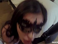 Mysterious brunette in carnival mask trains plump lips giving stepdad blowjob on camera 10