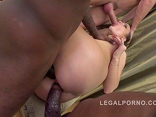 Three dominant stallions roughly penetrate good-looking blonde in all her welcoming holes
