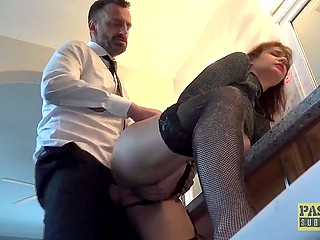 Unshaven man got mad about rough sex and owned young British slut in front of mirror