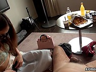 Two Japanese sweeties are ready to suck man's cock so he just needs to relax and receive pleasure 4