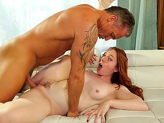 Teen housemaid with red hair successfully achieves a goal and muscled employer fucks her