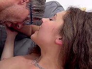 Sex with grey-haired man helps splendid girl in stockings receive a significant discount 10