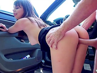 Guy with camera stretches adorable chick Shae Celestine in car before leaving cum on her cute face