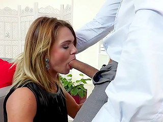 Tanned taxi driver brings attractive Euro tourist Lara West at his place and she gives him great blowjob