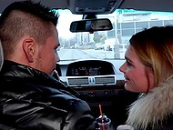 Tanned taxi driver brings attractive Euro tourist Lara West at his place and she gives him great blowjob 6