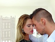 Tanned taxi driver brings attractive Euro tourist Lara West at his place and she gives him great blowjob 8