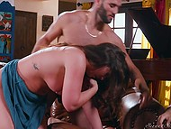 Strange guy sits in living room watching big-assed GF Maddy O'Reilly sucking and riding friend's dick 8