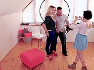 Gorgeous blonde Victoria Summers and teen Anabell tempt muscular photographer into threesome 4