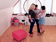 Gorgeous blonde Victoria Summers and teen Anabell tempt muscular photographer into threesome 5