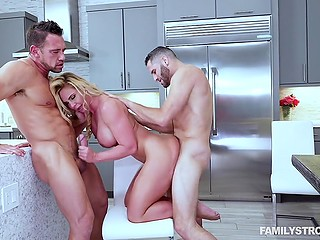 Stunning blonde Phoenix Marie creampied and facialized after threesome with husband and stepson
