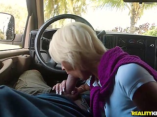 Shameless blonde wears no panties and man understands that he has a chance to receive blowjob