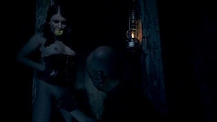 Slinky girl adores brutal man making her get naked and fingering her pussy in a dark room