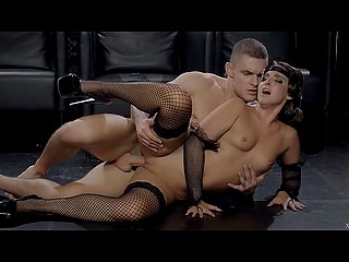 Euro sexpot Amirah Adara creampied after retro styled sex with excited partner in darkened room