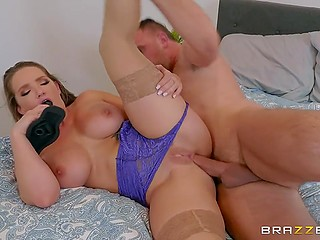 Busty hottie Cali Carter remembers that she is a desired woman thanks to neighbor's cock