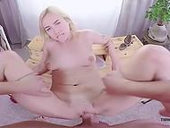 VR porn video where blonde obtains cum on ass after boyfriend drills shaved pussy 9
