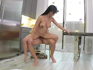 Long-haired Asian girl is creampied after rides stepbrother's cock and enjoys spoons sex position