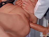 Female scientist Cathy Heaven tests a solution that makes intern want to fuck her holes 8