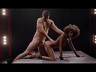 Curly-haired Ebony hottie Luna Corazon and white partner tenderly make love in darkened bedroom 10