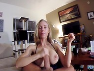 Wife with big boobs tried hard and managed to make cameraman cum with hands and mouth