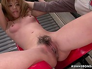Two perverts humiliate helpless Japanese girl by massaging her dripping wet snatch with sex toys 8