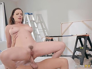 Pompous lady Dana DeArmond falls down because of mess and handyman apologizes by anal fuck