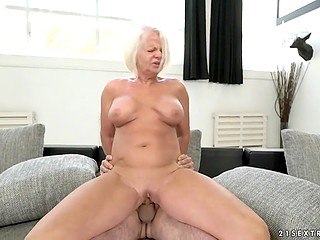 Old blonde doesn't need to masturbate because of a younger lover who satisfies her