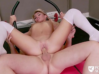 Skinny slut with small breasts in white stockings rides cock of pleased principal in the gym