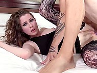 Winsome college girl in black stockings actively moans during awesome anal sex with skillful buddy 10
