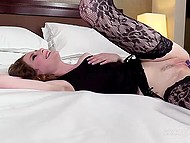 Winsome college girl in black stockings actively moans during awesome anal sex with skillful buddy 4