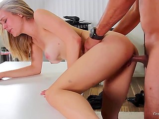 At audition blonde newcomer Alli Rae polishes agent's prick and takes it deep into her tight peach