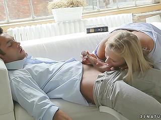 Husband of adorable young blonde comes home and his tongue satisfies gentle pussy soon