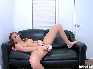 At porn audition newcomer with natural boobs Alexis Adams plays with dildo and is ready to suck boner