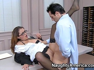 Fascinating Allie Haze in business suit can't leave office so she initiates sex with co-worker