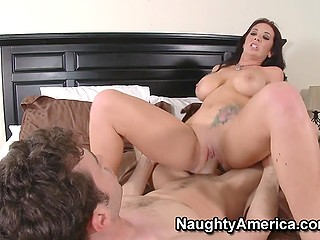 Busty lovely Jayden Jaymes with flower tattoo on tummy enjoys sex with husband's stepbrother
