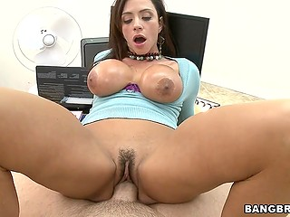 Latina MILF Ariella Ferrera with massive hooters enjoys boss' hard cock on his table