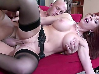 Bald stallion's mighty cock satisfies busty mature woman in stockings without any problem